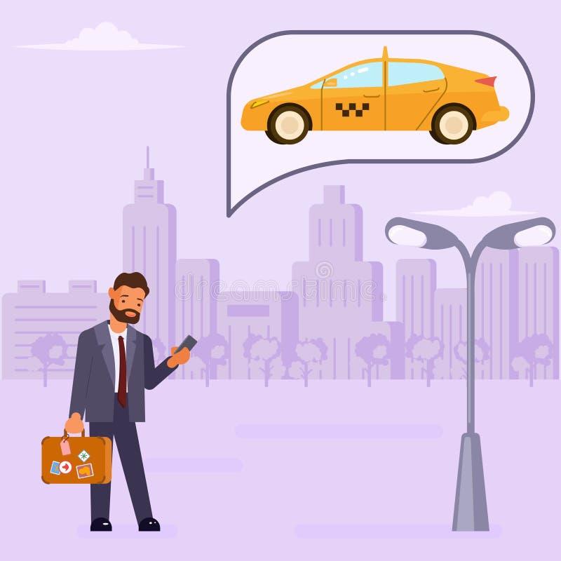 Το άτομο διατάζει ένα ταξί διανυσματική απεικόνιση