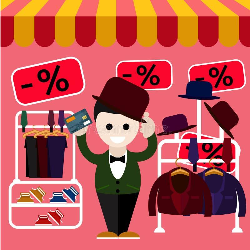 Το άτομο επιλέγει τα τέλεια ενδύματα και ένα καπέλο στο κατάστημα διανυσματική απεικόνιση