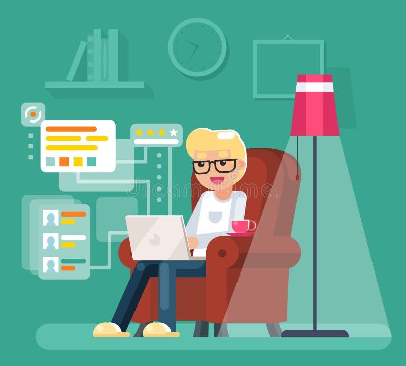Το άτομο εργασίας στο σπίτι κάθεται στην πολυθρόνα με το lap-top που λειτουργεί διανυσματική απεικόνιση σχεδίου Διαδικτύου την επ ελεύθερη απεικόνιση δικαιώματος
