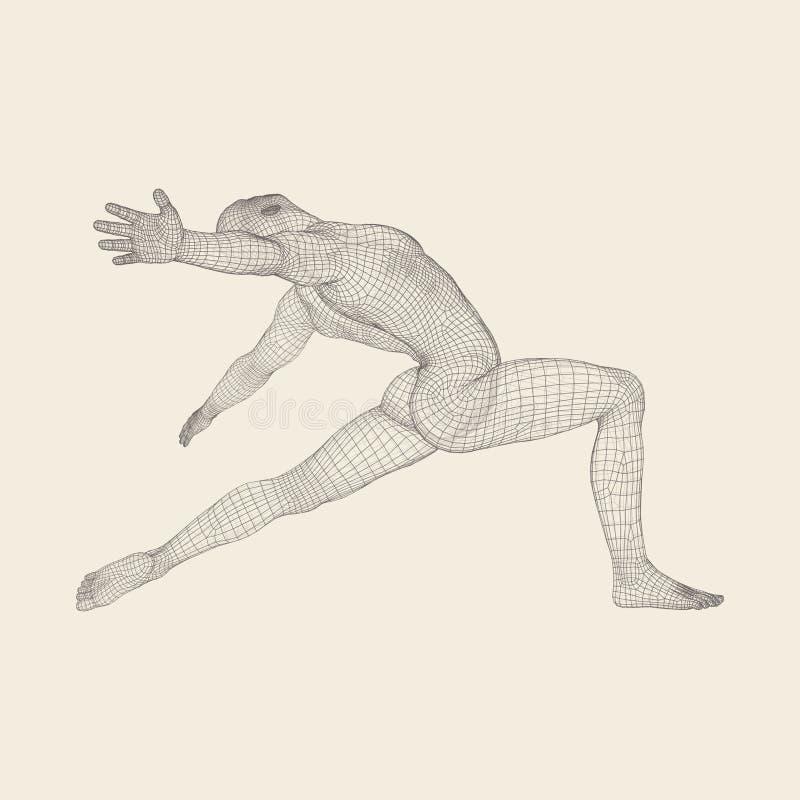 Το άτομο θέτει και χορεύει Σκιαγραφία ενός χορευτή τρισδιάστατο πρότυπο του ατόμου διανυσματική απεικόνιση