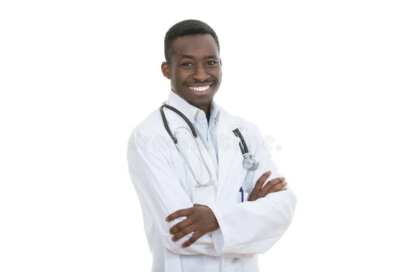 Το άτομο ιατρών αφροαμερικάνων απομόνωσε το άσπρο υπόβαθρο στοκ φωτογραφίες