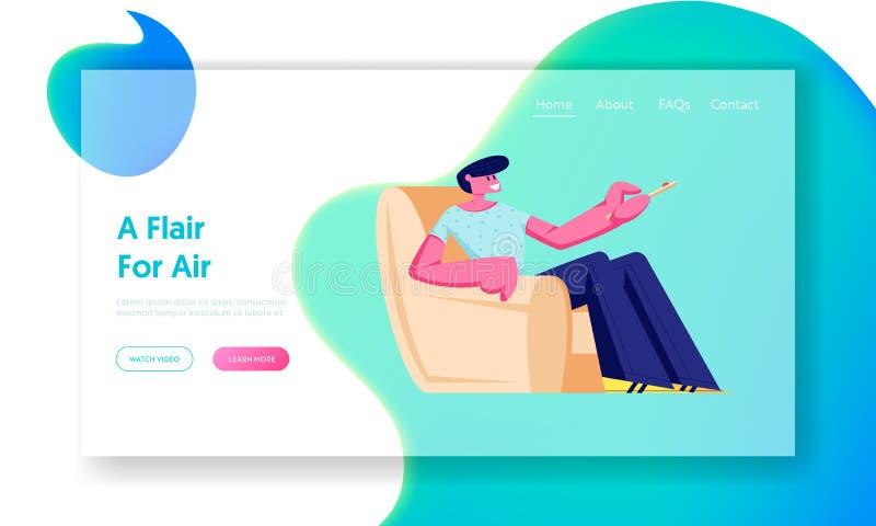 Το άτομο κάθεται στην πολυθρόνα στο σπίτι με τον τηλεχειρισμό για το εδαφοβελτιωτικό ή τη συσκευή τηλεόρασης, χαρακτήρας χρησιμοπ ελεύθερη απεικόνιση δικαιώματος