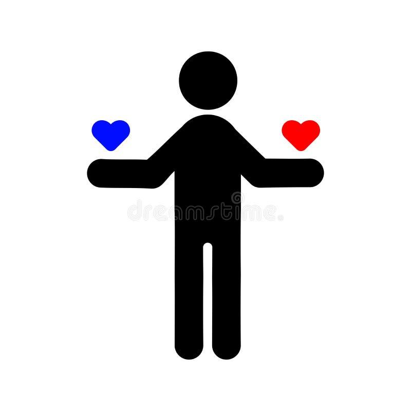 Το άτομο κρατά το εικονίδιο καρδιών απεικόνιση αποθεμάτων