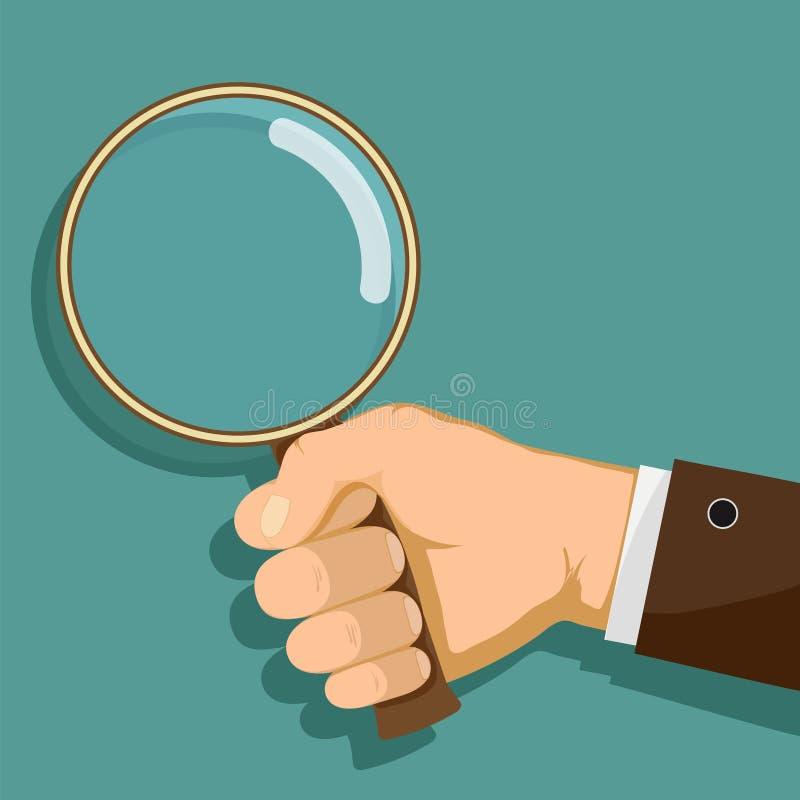 Το άτομο κρατά μια ενίσχυση - γυαλί στο χέρι του διανυσματική απεικόνιση