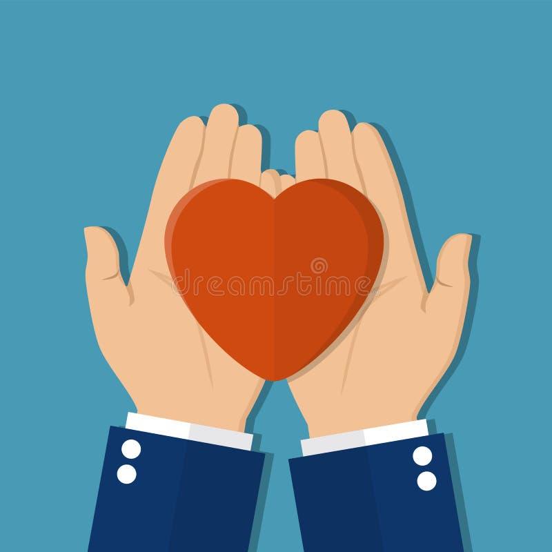 Το άτομο κρατά μια καρδιά στα χέρια του ελεύθερη απεικόνιση δικαιώματος