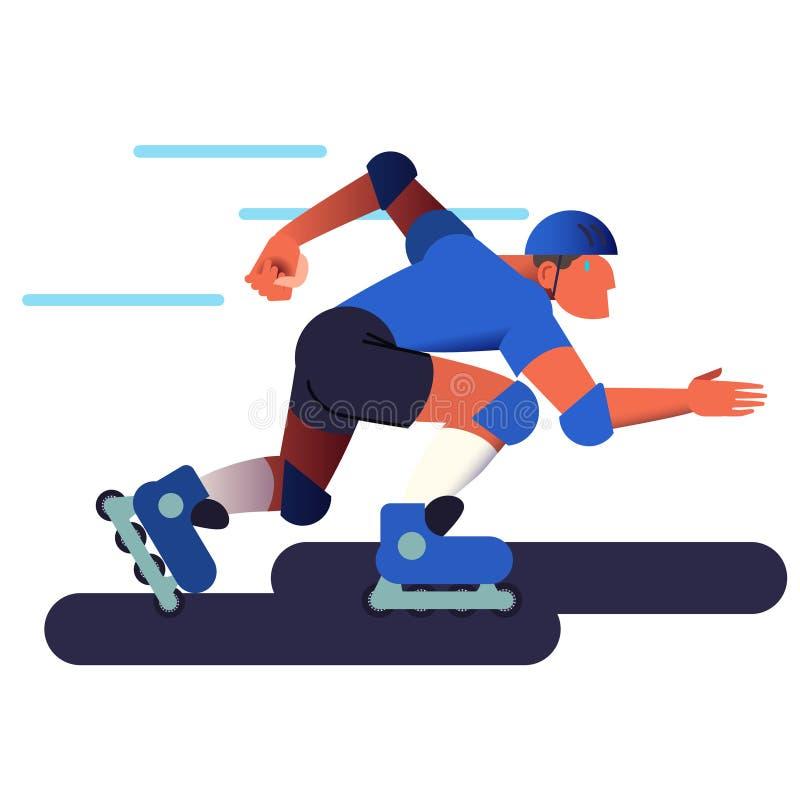 Το άτομο κυλίνδρων Αθλητικός τύπος σαλαχιών κυλίνδρων στο επίπεδο με το σχέδιο κλίσης επίσης corel σύρετε το διάνυσμα απεικόνισης απεικόνιση αποθεμάτων