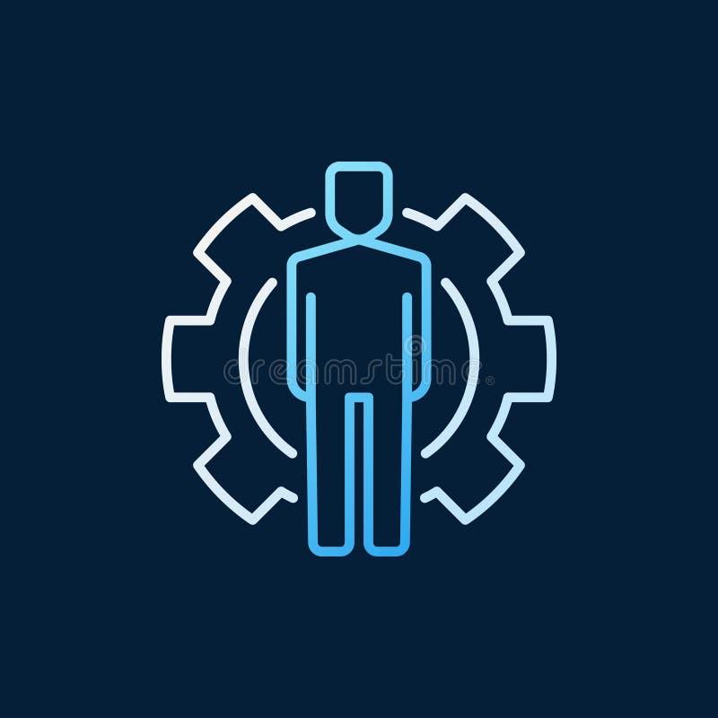 Το άτομο μέσα cogwheel στο διάνυσμα χρωμάτισε το εικονίδιο ή το λογότυπο περιλήψεων απεικόνιση αποθεμάτων