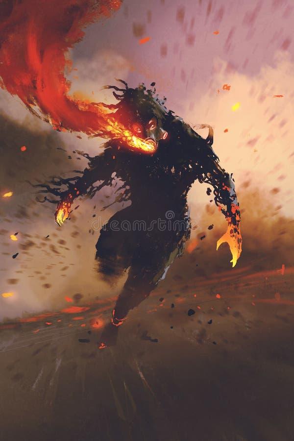 Το άτομο μασκών αερίου που αναπνέει έξω τη φλόγα πυρκαγιάς διανυσματική απεικόνιση