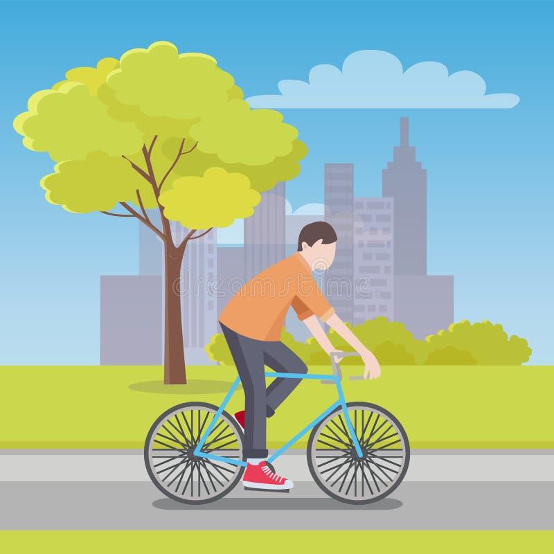 Το άτομο οδηγά το ποδήλατο κατά μήκος του δρόμου με την πόλη στον ορίζοντα ελεύθερη απεικόνιση δικαιώματος