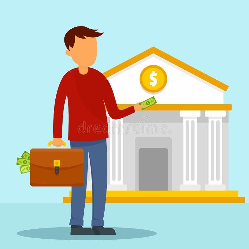 Το άτομο παίρνει την περίπτωση χρημάτων στο υπόβαθρο έννοιας τραπεζών, επίπεδο ύφος απεικόνιση αποθεμάτων