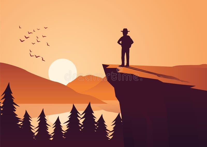 Το άτομο παίρνει την περιπέτεια στη ζούγκλα, η στάση στον απότομο βράχο κοιτάζει στον ήλιο στο α διανυσματική απεικόνιση