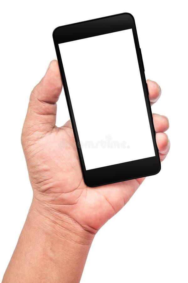 Το άτομο παρουσιάζει χέρι κρατώντας το μαύρο smartphone στοκ φωτογραφία με δικαίωμα ελεύθερης χρήσης