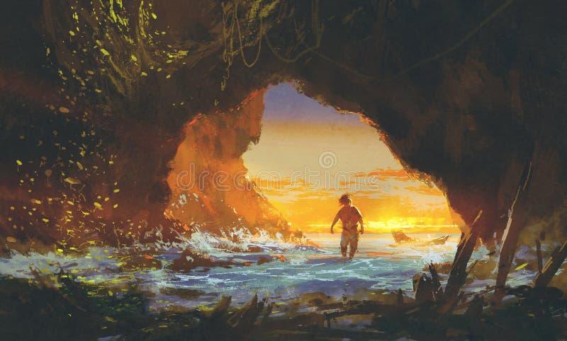 Το άτομο που περπατά στη σπηλιά θάλασσας στο ηλιοβασίλεμα απεικόνιση αποθεμάτων