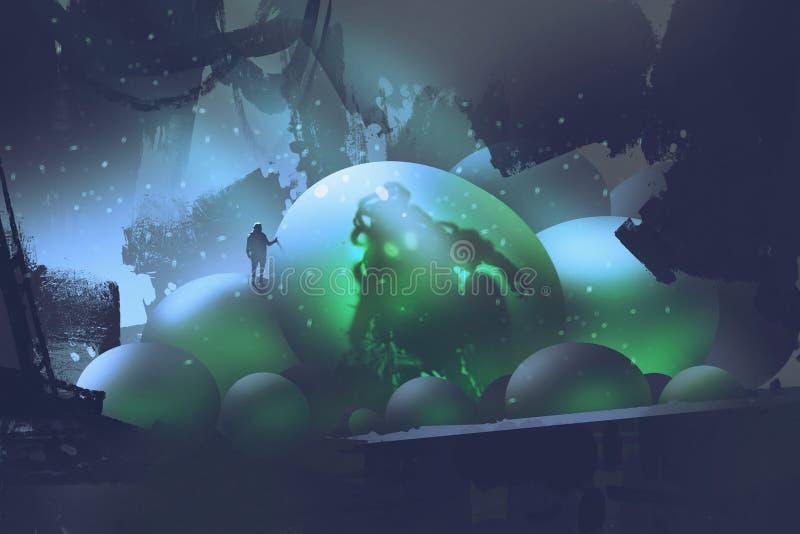 Το άτομο που στέκεται στα καμμένος αυγά με ένα τέρας μέσα απεικόνιση αποθεμάτων