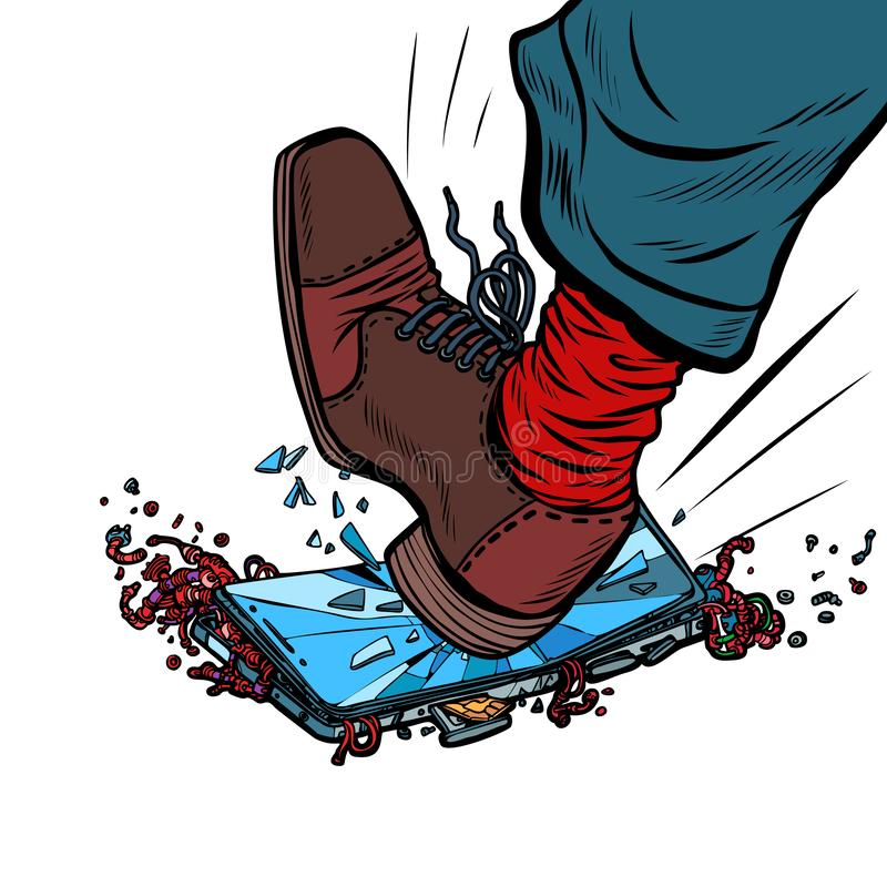 Το άτομο σπάζει το τηλέφωνο με το πόδι του διανυσματική απεικόνιση