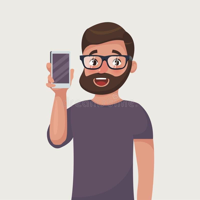 Το άτομο στα γυαλιά με τη γενειάδα παρουσιάζει το τηλέφωνο Άνθρωποι και συσκευές ελεύθερη απεικόνιση δικαιώματος