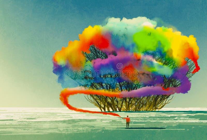 Το άτομο σύρει το αφηρημένο δέντρο με τη ζωηρόχρωμη φλόγα καπνού διανυσματική απεικόνιση