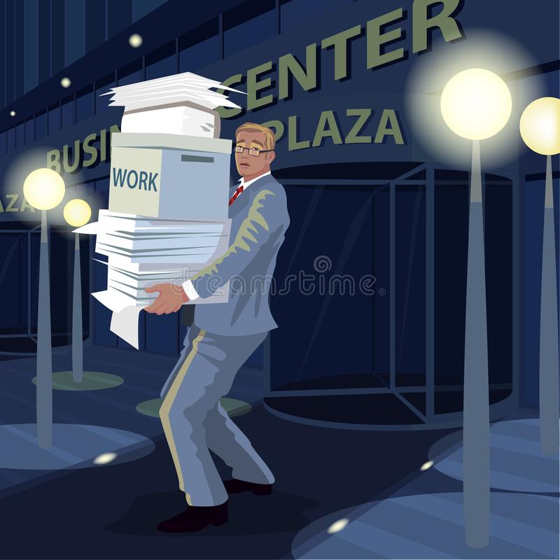 Το άτομο φέρνει τα έγγραφα από το γραφείο στο σπίτι τη νύχτα απεικόνιση αποθεμάτων