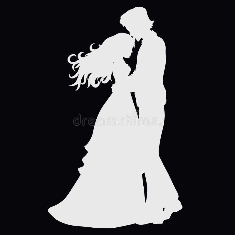 Το άτομο φιλά ήπια το κεφάλι μιας όμορφης κυρίας ελεύθερη απεικόνιση δικαιώματος