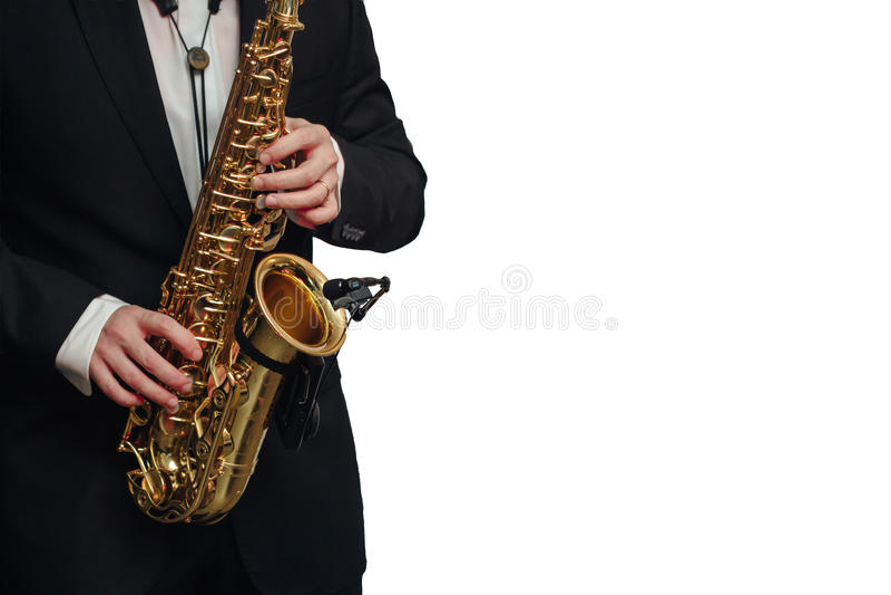 Το άτομο φορέων Saxophone απομόνωσε το άσπρο υπόβαθρο στοκ εικόνες με δικαίωμα ελεύθερης χρήσης