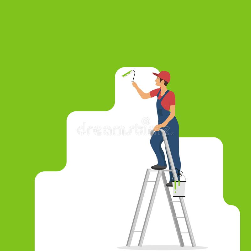 Το άτομο χρωματίζει τον τοίχο Ένα άτομο στέκεται σε ένα stepladder με έναν κύλινδρο στο χέρι του και χρωματίζει τον τοίχο απεικόνιση αποθεμάτων