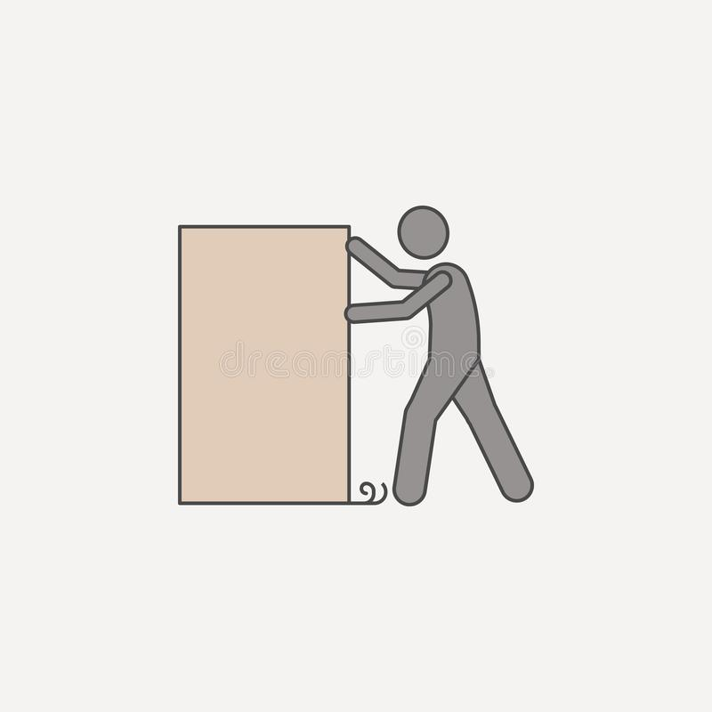 το άτομο ωθεί το πλαίσιο 2 εικονίδιο χρωματισμένων γραμμών Απλή απεικόνιση χρωματισμένων στοιχείων το άτομο ωθεί το σχέδιο συμβόλ διανυσματική απεικόνιση