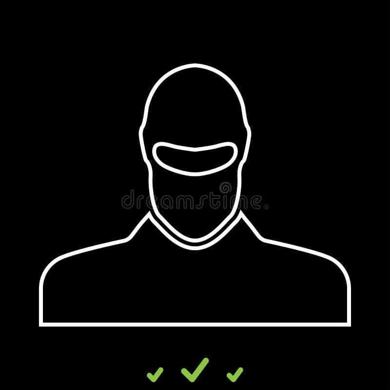 Το άτομο balaclava ή τα pasamontanas αυτό είναι άσπρο εικονίδιο ελεύθερη απεικόνιση δικαιώματος