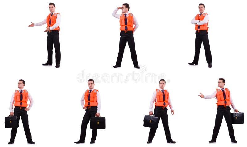 Το άτομο life-jacket που απομονώνεται στο λευκό στοκ φωτογραφία με δικαίωμα ελεύθερης χρήσης