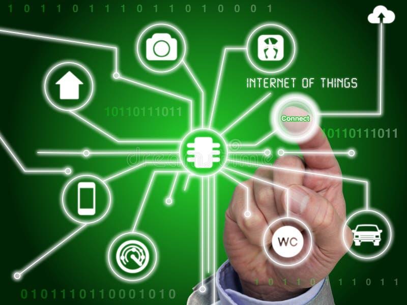 Το δάχτυλο πιέζει το κουμπί για να συνδέσει με το Διαδίκτυο ελεύθερη απεικόνιση δικαιώματος