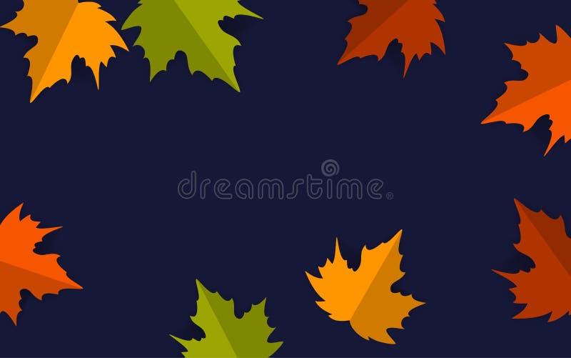Το έγγραφο έκοψε τα φύλλα σφενδάμου ύφους πέρα από το σκούρο μπλε υπόβαθρο, διάνυσμα εμβλημάτων ημέρας των ευχαριστιών πτώσης φθι διανυσματική απεικόνιση