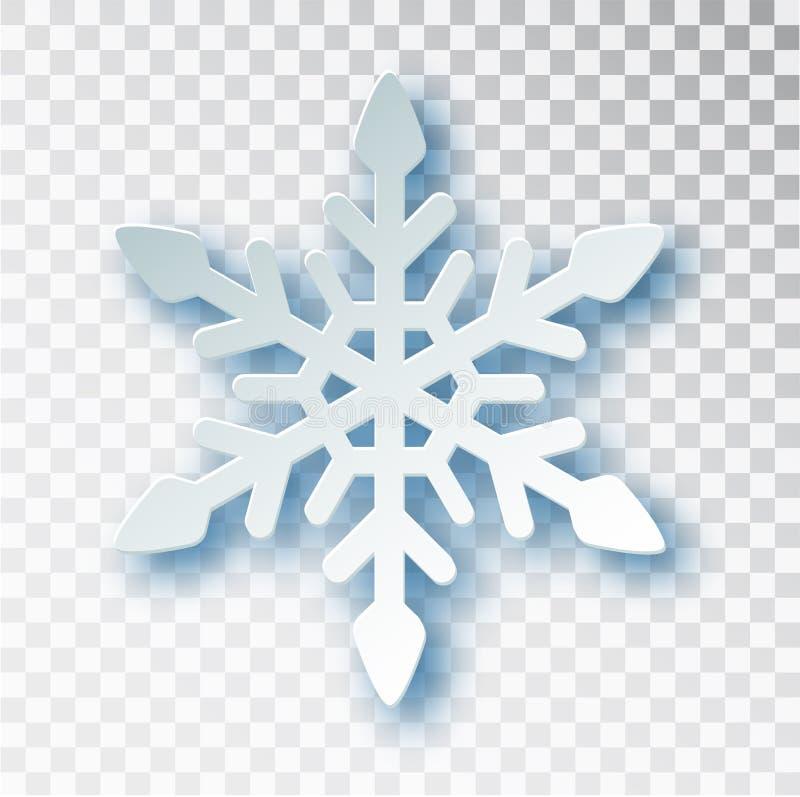 Το έγγραφο έκοψε snowflake με τη σκιά που απομονώθηκε στο διαφανές υπόβαθρο Χριστούγεννα και νέο πρότυπο σχεδίου έτους s, πρότυπο διανυσματική απεικόνιση