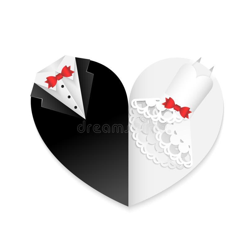 Το έγγραφο γαμήλιων καρτών έκοψε την αφηρημένη διακόσμηση τέχνης με τα κόκκινα τόξα - μορφή καρδιών διανυσματική απεικόνιση