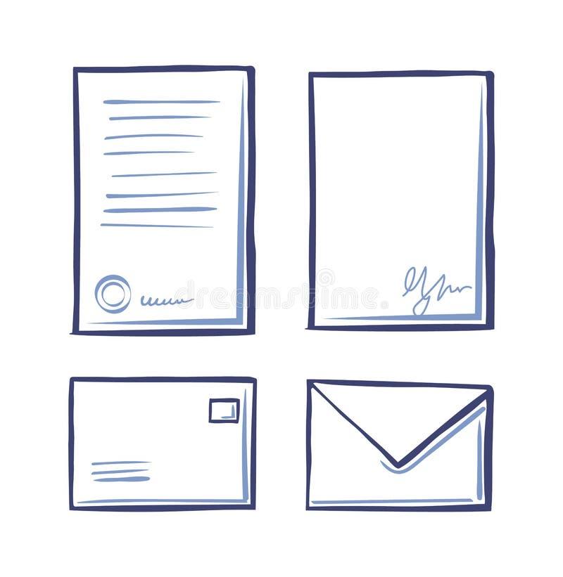 Το έγγραφο γραφείων τεκμηριώνει και φάκελοι καθορισμένοι διανυσματικοί ελεύθερη απεικόνιση δικαιώματος