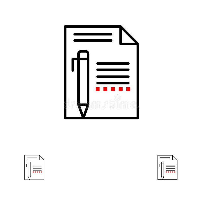 Το έγγραφο, εκδίδει, σελίδα, έγγραφο, μολύβι, γράφει το τολμηρό και λεπτό μαύρο σύνολο εικονιδίων γραμμών ελεύθερη απεικόνιση δικαιώματος