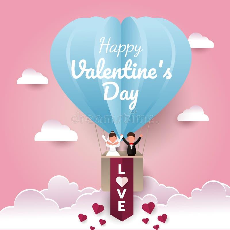 Το έγγραφο ημέρας Valentine's έκοψε την κάρτα Ευτυχές γαμήλιο ζεύγος σε ένα μπαλόνι αέρα στον ουρανό απεικόνιση αποθεμάτων
