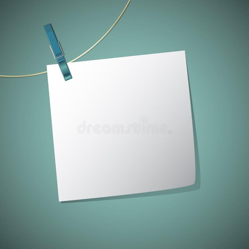 Το έγγραφο σημειώσεων κρεμά στη συμβολοσειρά με την καρφίτσα ενδυμάτων, διανυσματική απεικόνιση
