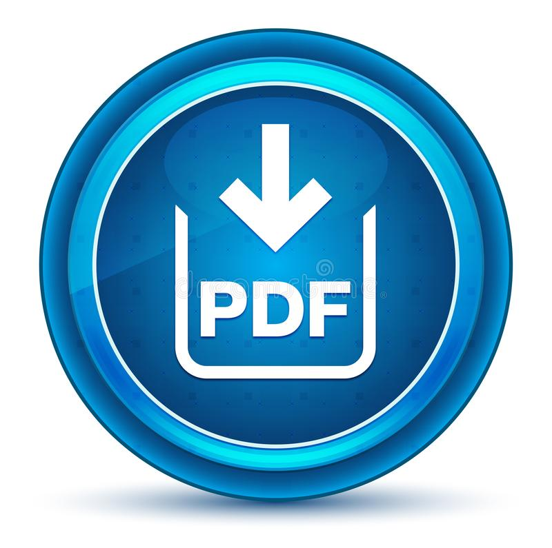 Το έγγραφο PDF μεταφορτώνει το μπλε στρογγυλό κουμπί βολβών του ματιού εικονιδίων στοκ εικόνες
