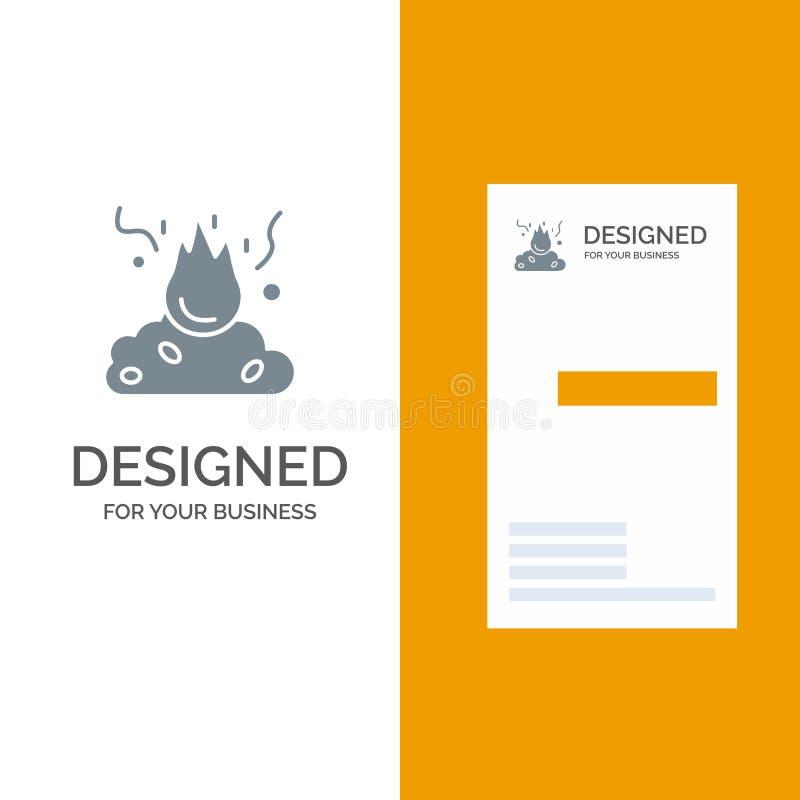 Το έγκαυμα, πυρκαγιά, απορρίματα, ρύπανση, καπνίζει το γκρίζο σχέδιο λογότυπων και το πρότυπο επαγγελματικών καρτών διανυσματική απεικόνιση