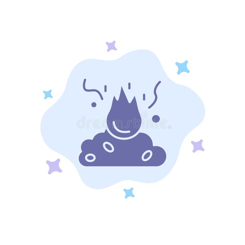 Το έγκαυμα, πυρκαγιά, απορρίματα, ρύπανση, καπνίζει το μπλε εικονίδιο στο αφηρημένο υπόβαθρο σύννεφων απεικόνιση αποθεμάτων