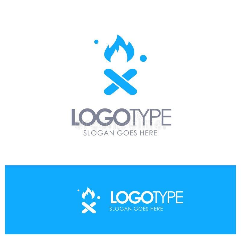 Το έγκαυμα, πυρκαγιά, απορρίματα, ρύπανση, καπνίζει το μπλε στερεό λογότυπο με τη θέση για το tagline διανυσματική απεικόνιση