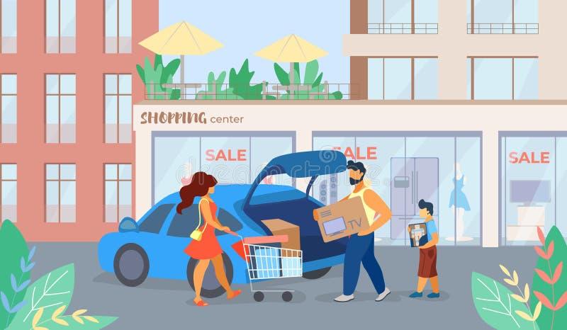 Το έμβλημα γράφεται τα κινούμενα σχέδια πώλησης εμπορικών κέντρων ελεύθερη απεικόνιση δικαιώματος