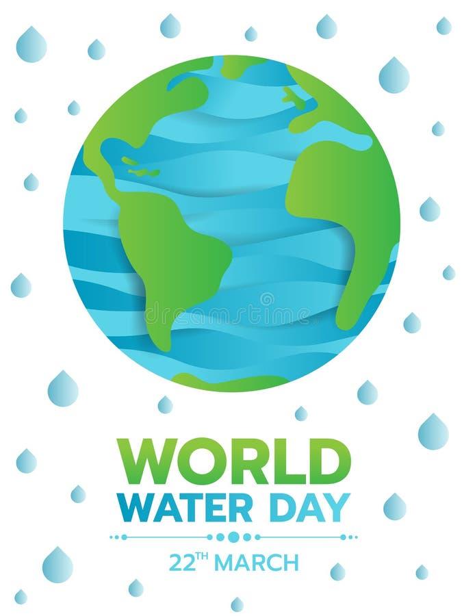 Το έμβλημα ημέρας παγκόσμιου νερού με την αφηρημένη πράσινη γη καμπυλών κλίσης και η μπλε θάλασσα νερού στον κόσμο και την πτώση  διανυσματική απεικόνιση