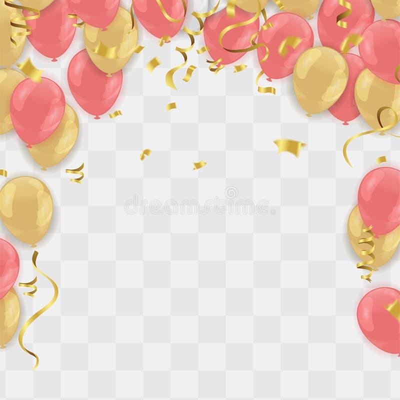 Το έμβλημα κομμάτων εορτασμού με τα χρυσά μπαλόνια και ρόδινος αυξήθηκε χρυσό serpentine διανυσματική απεικόνιση
