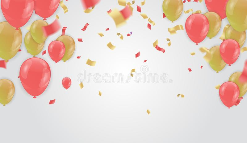 Το έμβλημα κομμάτων εορτασμού με τα χρυσά μπαλόνια και ρόδινος αυξήθηκε χρυσό serpentine ελεύθερη απεικόνιση δικαιώματος