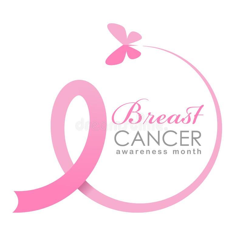 Το έμβλημα μήνα συνειδητοποίησης καρκίνου του μαστού με τη μύγα πεταλούδων κάνει το ρόδινο σημάδι κορδελλών το διανυσματικό σχέδι διανυσματική απεικόνιση