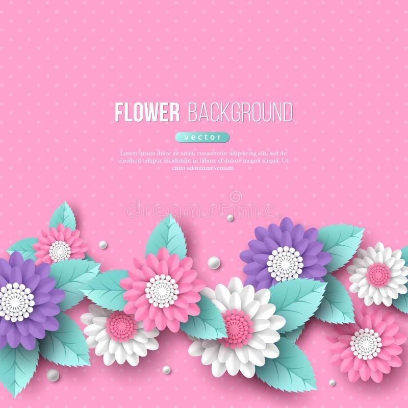 Το έμβλημα με το έγγραφο έκοψε τα τρισδιάστατα λουλούδια στα ρόδινα, άσπρα και ιώδη χρώματα Θέση για το κείμενο, διαστιγμένο σχέδ ελεύθερη απεικόνιση δικαιώματος