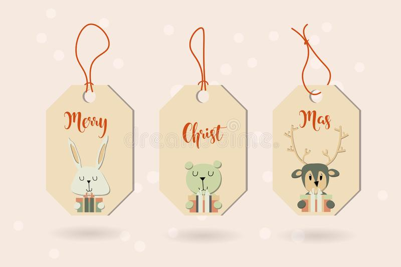 Το έμβλημα με τα χαριτωμένα χειμερινά ζώα με παρουσιάζει Χαρούμενα Χριστούγεννα α στοκ φωτογραφία με δικαίωμα ελεύθερης χρήσης