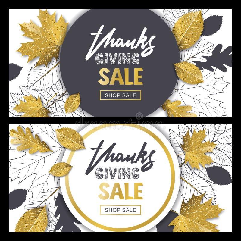 Το έμβλημα πώλησης ημέρας των ευχαριστιών έθεσε με τον τρισδιάστατο χρυσό ύφους και περιγράφει τα φύλλα φθινοπώρου Διανυσματικό χ απεικόνιση αποθεμάτων