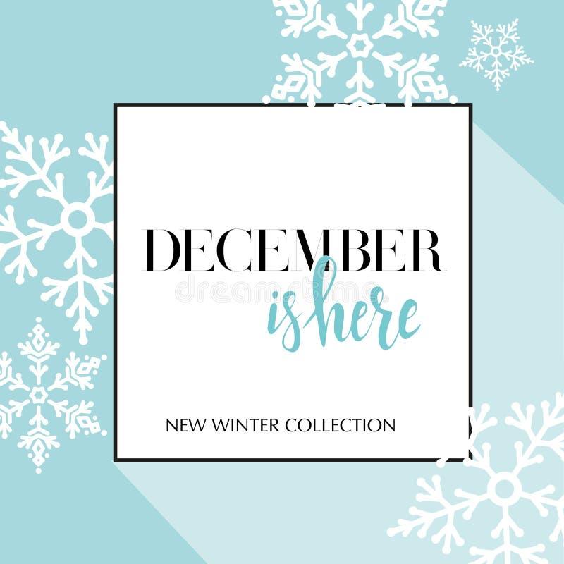 Το έμβλημα σχεδίου με την εγγραφή Δεκέμβριος είναι εδώ λογότυπο Ανοικτό μπλε κάρτα για την πώληση εποχής με το μαύρο πλαίσιο και  ελεύθερη απεικόνιση δικαιώματος