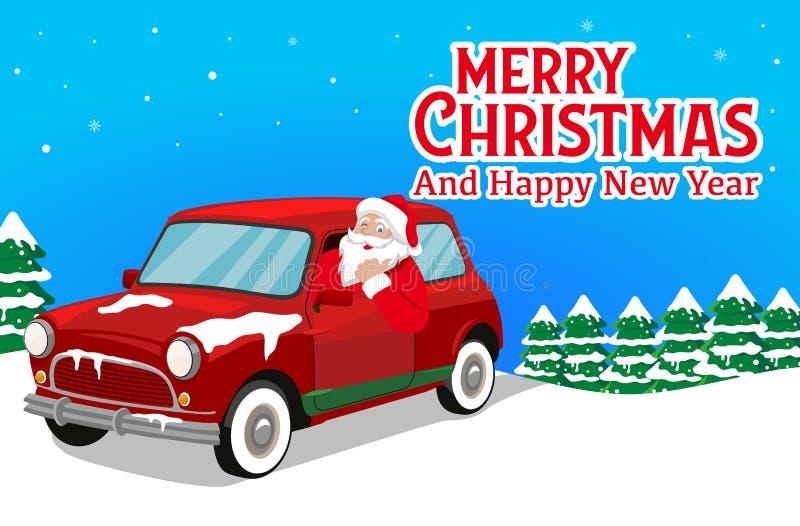 Το έμβλημα Χριστουγέννων με Άγιο Βασίλη το διάνυσμα αυτοκινήτων και υποβάθρου δέντρων διανυσματική απεικόνιση